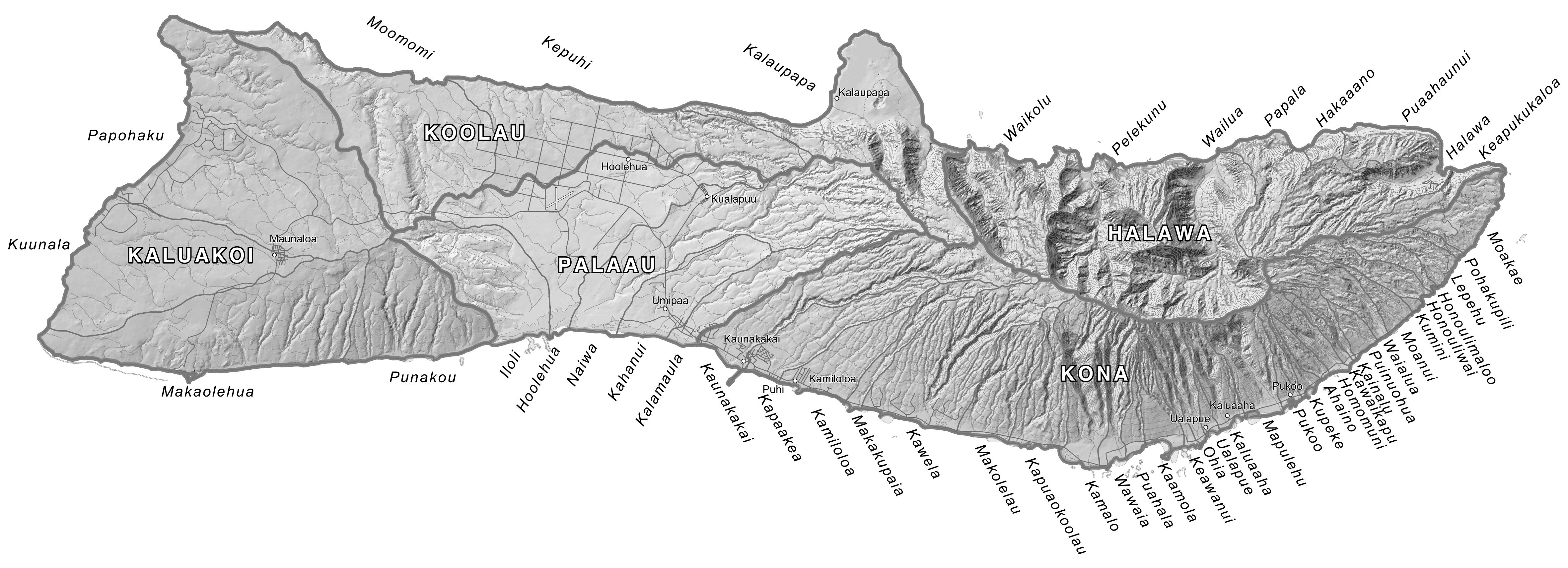 Map Of Molokai Moku Maps | Aha Moku Map Of Molokai